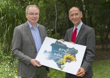 Im Bild von links nach rechts: Umwelt-Landesrat Dr. Stephan Pernkopf und Univ.-Prof. Dr. Peter Filzmaier.