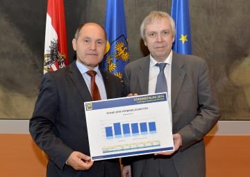 In St. Pölten informierten LHStv. Mag. Wolfgang Sobotka und Rudolf Stöckelmayer (vlnr) heute über die aktuellen Entwicklungen der Budgetverhandlungen.