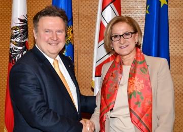 Landeshauptfrau Johanna Mikl-Leitner traf zu einem Arbeitsgespräch mit Stadtrat Michael Ludwig zusammen.