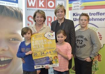 Sonja Zwazl, Präsidentin der NÖ Wirtschaftskammer, und Landesrätin Mag. Barbara Schwarz präsentierten die 1. Kinder Business Week in Niederösterreich (von links nach rechts)