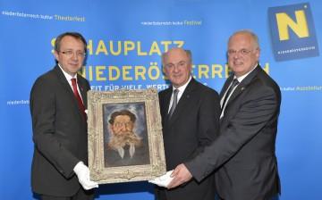 Pressekonferenz im NÖ Landhaus:  Bürgermeister Mag. Matthias Stadler, Landeshauptmann Dr. Erwin Pröll, Bürgermeister Dr. Reinhard Resch (v. l. n. r.).