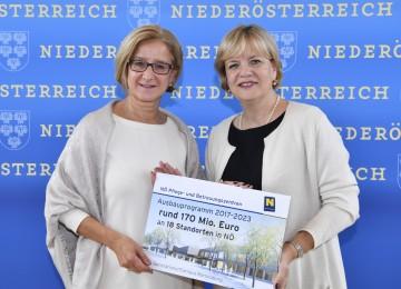 Investitionen von rund 170 Millionen Euro für den Ausbau der NÖ Pflege- und Betreuungszentren: Landeshauptfrau Johanna Mikl-Leitner und Sozial-Landesrätin Barbara Schwarz (v.l.n.r.)