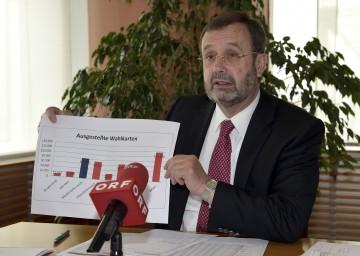 Landtagspräsident Ing. Hans Penz präsentierte das endgültige Ergebnis der Europawahl 2014.