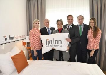 Eröffnung des neuen Hotels in Wieselburg durch Landeshauptmann Dr. Erwin Pröll, Landesrätin Dr. Petra Bohuslav, Hotelbetreiber Alexander Ipp und Landesrat Dr. Stephan Pernkopf.