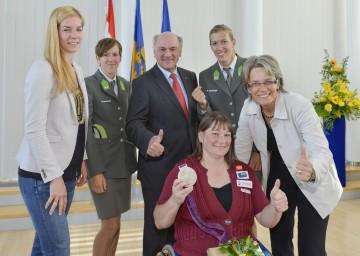 Landeshauptmann Dr. Erwin Pröll und Landesrätin Dr. Petra Bohuslav empfingen die niederösterreichischen Teilnehmerinnen und Teilnehmer an den Olympischen Spielen bzw. den Paralympics.