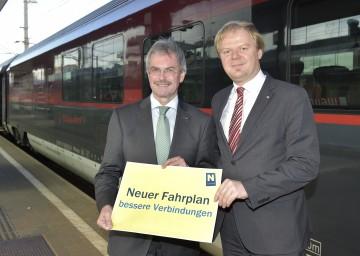 Präsentierten den neuen ÖBB-Fahrplan: Verkehrs-Landesrat Mag. Karl Wilfing und DI Michael Fröhlich, Regionalmanager der ÖBB-Personenverkehr AG. (v.l.n.r.)