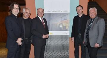 Beethovenkino in Baden wird zu einem Cinema Paradiso: Im Bild Alexander Syllaba, GR Hans Hornyik, Landeshauptmann Dr. Erwin Pröll, Clemens Kopetzky, Bgm. Kurt Staska (v. l. n. r.).