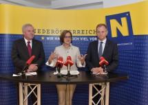 Im Anschluss an das Arbeitsgespräch fand in den Räumlichkeiten des WasserClusters in Lunz am See eine Pressekonferenz der drei Landeshauptleute statt.