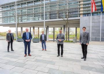 Wolfgang Neudorfer, LH-Stellvertreter Stephan Pernkopf, Obmann Franz Wanzenböck, LAbg. Manfred Schulz und Vizepräsident Lorenz Mayr (v.l.n.r.)