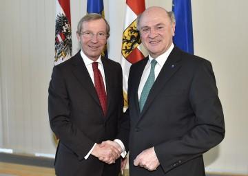 Arbeitsgespräch von Landeshauptmann Dr. Erwin Pröll mit seinem Salzburger Amtskollegen Dr. Wilfried Haslauer.