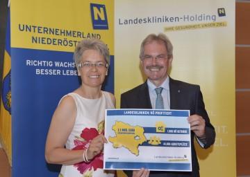 Landesrätin Dr. Petra Bohuslav und Landesrat Mag. Karl Wilfing präsentierten Zahlen, Daten und Fakten zu den NÖ Kliniken als Wirtschaftsmotor.