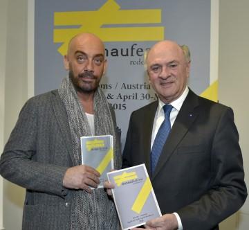 Präsentierten das Programm des Donaufestival 2015: der künstlerische Leiter Thomas Zierhofer-Kin und Landeshauptmann Dr. Erwin Pröll. (v.l.n.r.)