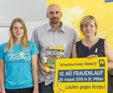 Freuen sich auf den NÖ Frauenlauf: Läuferin Bianca Polak, Organisator Mag. Christian Kohl und Frauen-Landesrätin Mag. Barbara Schwarz. (v.l.n.r.)