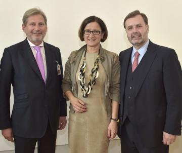 EU-Kommissar Johannes Hahn, Innenministerin Johanna Mikl-Leitner und Landtagspräsident Hans Penz (v.l.n.r.)