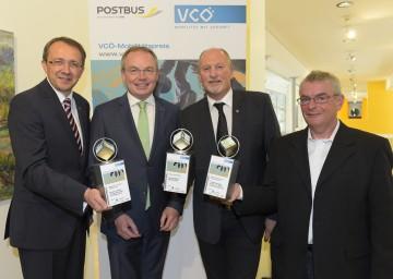 VCÖ-Mobilitätspreis vergeben: Bgm. Mag. Matthias Stadler (St. Pölten), Umweltlandesrat Dr. Stephan Pernkopf, Bgm. Horst Gangl (Ernstbrunn) und Gerhard Kitzler (Ehrenobmann WIR für Dietmanns) (v.l.n.r.)