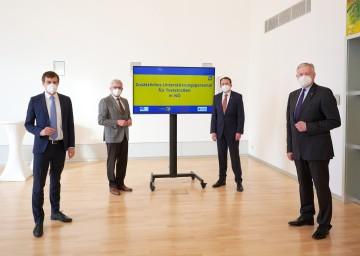 Von links nach rechts: AMS NÖ-Geschäftsführer Sven Hergovich, NÖ Gemeindebund-Präsident Alfred Riedl, Vorsitzender Städtebund NÖ Matthias Stadler und Landesrat Martin Eichtinger