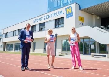 Landeshauptfrau Johanna Mikl-Leitner präsentierte gemeinsam mit Sport-Landesrat Jochen Danninger und der österreichischen Leichtathletin Ivona Dadic im Sportzentrum Niederösterreich die neue Sportstrategie NÖ 2025