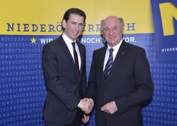 Landeshauptmann Dr. Erwin Pröll mit Außenminister Sebastian Kurz.