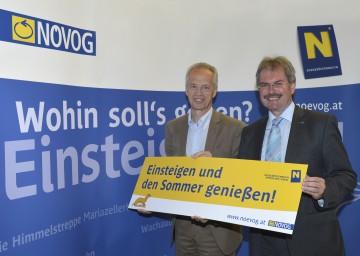 Gerhard Stindl, Geschäftsführer der NÖVOG, und Landesrat Mag. Karl Wilfing präsentierten Neuigkeiten zu den Wieselbahnen und Bergbahnen in Niederösterreich. (v.l.n.r.)