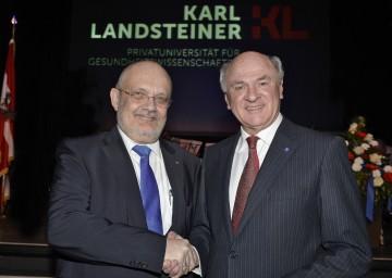 Landeshauptmann Dr. Erwin Pröll und Rektor Univ.Prof. Dr. Rudolf Mallinger bei der Inauguration des Rektorats der Karl Landsteiner Privatuniversität für Gesundheitswissenschaften in Krems.