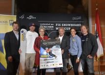 Im Bild von links nach rechts: Andreas Buder von der Ötscherlift-Gesellschaft, Snowboarder Benjamin Karl, Landesrätin Petra Bohuslav, ÖSV-Sportdirektor Hans Pum, OK-Chefin Michaela Dorfmeister und ÖSV-Snowboard-Chef Christian Galler.