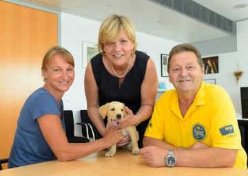 Karin Kuhn (Geschäftsführende Obfrau) und Anton Endsdorfer (Obmann) von den Rettungshunden NÖ mit Nachwuchs-Rettungshund zu Besuch bei Landesrätin Barbara Schwarz.