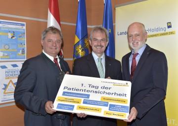 Im Bild von links nach rechts: Dr. Markus Klamminger von der NÖ Landeskliniken-Holding, Landesrat Mag. Karl Wilfing und NÖ Patientenanwalt Dr Gerald Bachinger