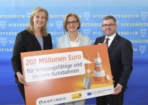Die ASFINAG investiert 207 Millionen Euro in leistungsfähige und sichere Autobahnen in Niederösterreich: ASFINAG-Vorstandsdirektorin Karin Zipperer, Landeshauptfrau Johanna Mikl-Leitner und Landesrat Ludwig Schleritzko (v.l.n.r.)