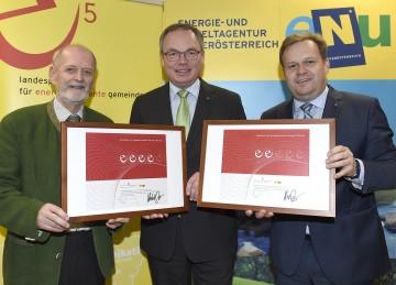 Im Bild von links nach rechts: Wieselburg-Bürgermeister Mag. Günther Leichtfried, Energie-Landesrat Dr. Stephan Pernkopf, Laa an der Thaya-Vizebürgermeister Georg Eigner.