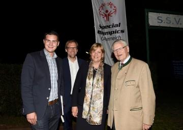 Bgm. Markus Baier (Zellerndorf), Landesrätin Mag. Barbara Schwarz, Alexander Bodmann (GF Caritas Wien), Hermann Kröll (Präsident Special Olympics Österreich)v.l.n.r.