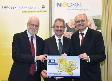 Im Bild von links nach rechts: NÖ Patientenanwalt Dr. Gerald Bachinger, Landesrat Mag. Karl Wilfing, NÖGKK-Generaldirektor Mag. Jan Pazourek.