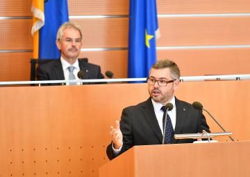 Landesrat Ludwig Schleritzko bei der Rede im Landtag zum Budgetvoranschlag 2019.