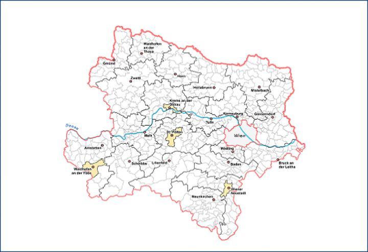 Karte Wien Niederosterreich.Karten Geoinformationen Land Niederosterreich