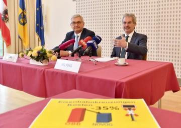 Im Bild von links nach rechts: Gemeindebund-Präsident Mag. Alfred Riedl und Verkehrslandesrat Mag. Karl