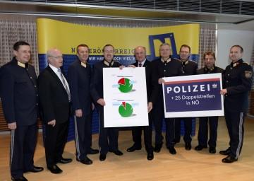 Sicherheitsgespräch im NÖ Landhaus: Landeshauptmann Dr. Erwin Pröll mit den Spitzen der niederösterreichischen Polizei unter der Führung von Landespolizeidirektor Dr. Franz Prucher.