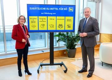 Landeshauptfrau Johanna Mikl-Leitner und Landesrat Martin Eichtinger gehen davon aus, dass Niederösterreich wieder intensiv von den EU-Geldern profitieren wird.<br />