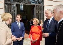 Litauens Premierministerin Ingrida Šimonyté (v. l.) traf im Stift Göttweig mit Bundeskanzler Sebastian Kurz, Landeshauptfrau Johanna Mikl-Leitner, Landesrat Martin Eichtinger und Abt Columban Luser zusammen.