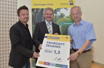 Die Ergebnisse der Fahrgastbefragung präsentierten MANOVA-Geschäftsführer Klaus Grabler, Verkehrs-Landesrat Mag. Karl Wilfing und NÖVOG-Geschäftsführer Dr. Gerhard Stindl. (v.l.n.r.)