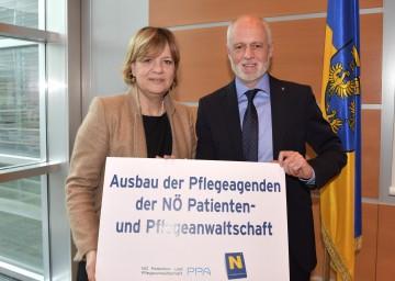 Im Bild von links nach rechts: Landesrätin Mag. Barbara Schwarz und Dr. Gerald Bachinger, NÖ Patientenanwalt.