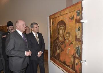 """Landeshauptmann Dr. Erwin Pröll und Bulgariens Präsident Mag. Rosen Plevneliev eröffneten die Ausstellung \""""Glanz des Ostens\"""" im Stift Klosterneuburg."""