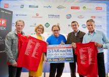 Günter Grasmuck, Landeshauptfrau Johanna Mikl-Leitner, Ewald Pfleger, Bürgermeister Erich Polz und Moderator Alfons Haider nach der Pressekonferenz.