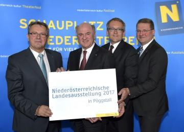 Landesausstellung 2017: Bürgermeister Johann Gillinger, Landeshauptmann Dr. Erwin Pröll, Geschäftsführer Kurt Farasin, Kultur-Abteilungsleiter Mag. Hermann Dikowitsch (v.l.n.r.)