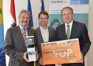 VCÖ-Mobilitätspreis vergeben: Verkehrs-Landesrat Karl Wilfing, Mag. Christian Gratzer (VCÖ) und Umwelt-Landesrat Dr. Stephan Pernkopf (v.l.n.r.)