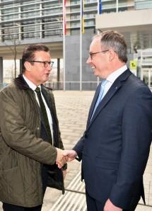 LH-Stellvertreter Stephan Pernkopf (rechts) empfing Minister Peter Hauk (links) aus Baden-Württemberg im Regierungsviertel in St. Pölten.
