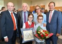 Im Bild von links nach rechts: Vizebürgermeister Alois Heiss, Bürgermeister Franz Wohlmuth, Landeshauptfrau Johanna Mikl-Leitner, LAbg. Martin Michalitsch.