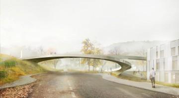 Visualisierung der Fußgängerbrücke in Klosterneuburg über die Bundesstraße 14 vom Architekturbüro RCR Arquitectes. Die Brücke wird den Campus von IST Austria mit dem neuen Technopark in Maria Gugging verbinden.