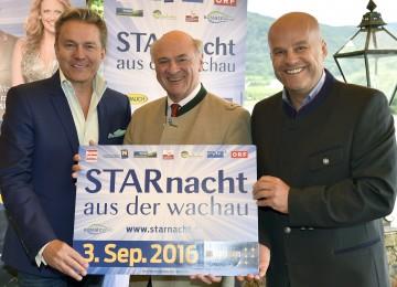 """Präsentierten die \""""Starnacht aus der Wachau\"""": Moderator Alfons Haider, Landeshauptmann Dr. Erwin Pröll und Martin Ramusch, Gesellschafter der ip media marketing GmbH. (v.l.n.r.)"""