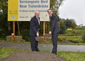 Landeshauptmann Dr. Erwin Pröll und Bürgermeister Mag. Matthias Stadler nahmen den Spatenstich vor.