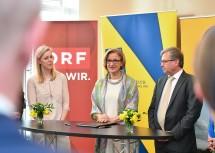 Landeshauptfrau Johanna Mikl-Leitner während des Pressegespräches, das im Kartenbüro in der Wiener Herrengasse stattfand.
