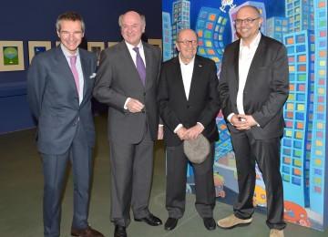 Der argentinische Botschafter Rafael Mariano Grossi, Landeshauptmann Dr. Erwin Pröll, Guillermo Mordillo und DI Gottfried Gusenbauer, Direktor des Karikaturmuseums, bei der Eröffnung der Mordillo-Ausstellung in Krems (von links nach rechts)